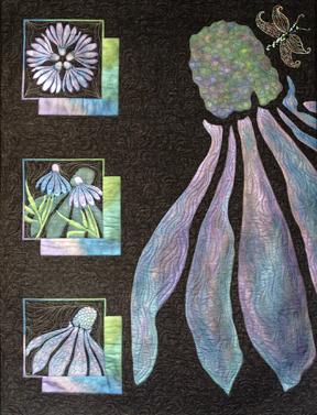 Becky Albright's dark coneflower quilt