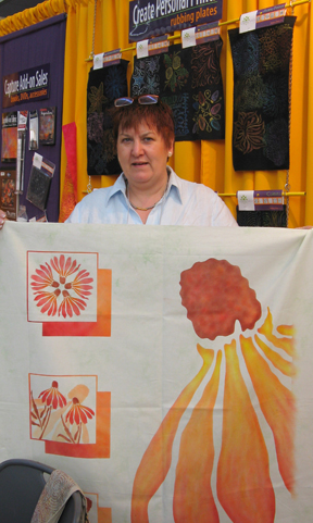 Christine Koehne (Germany) with Coneflower quilt top