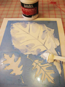 Stencil with Modeling Paste ~ Playing with Stencils 10
