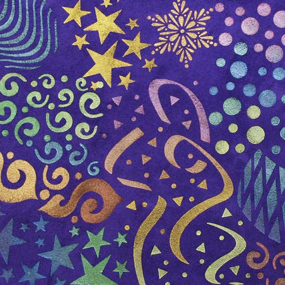 stenciled purple suede