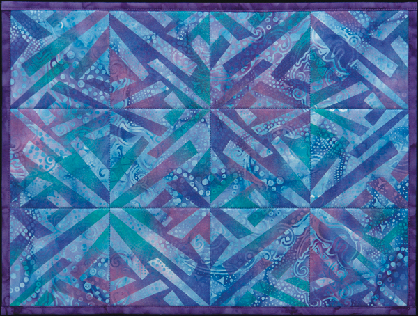 Blue Placemat painted with Fractured-X stencils