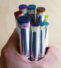 Well-Used Paintstik Brushes