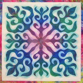 Painting the Water Lily quilt