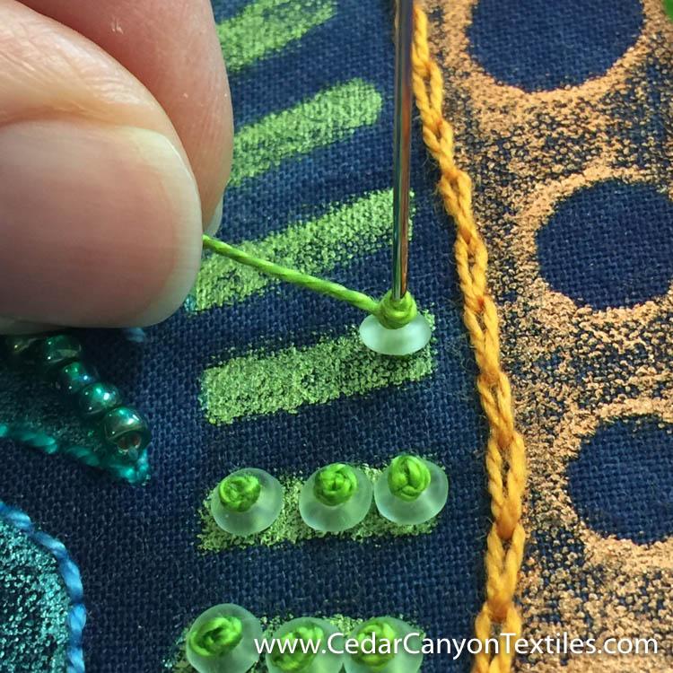 4. Tighten the thread around the needle.
