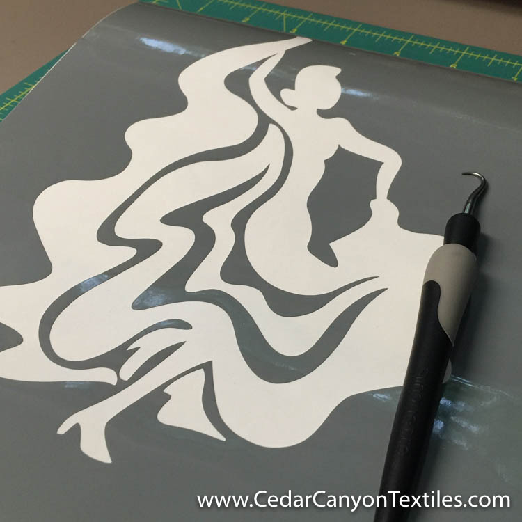 Dancer design cut from Silhouette Glossy Vinyl
