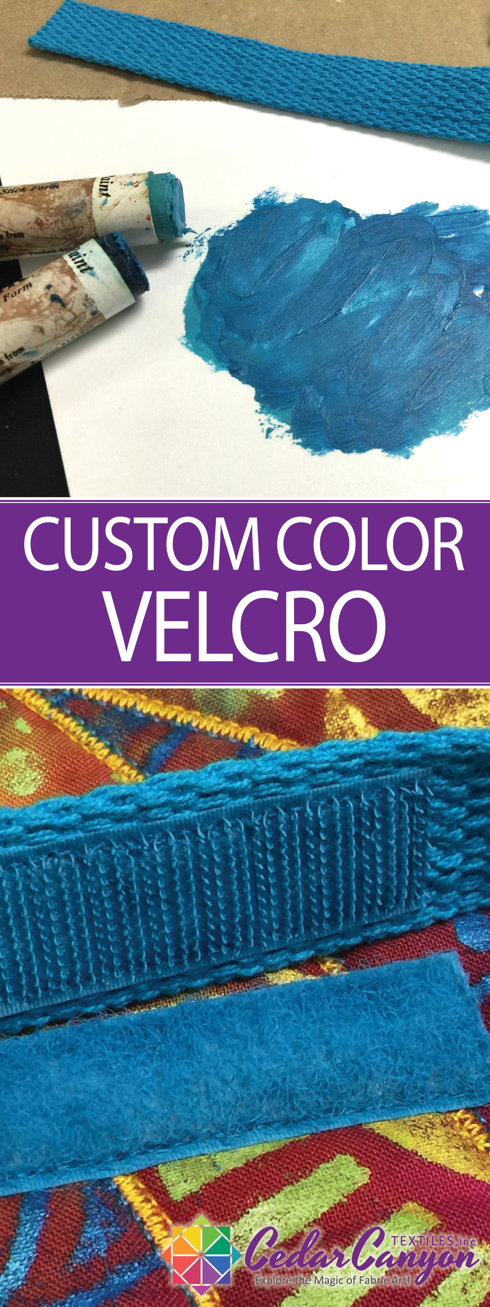Don't settle for Velcro that doesn't match your project! Create Custom Color Velcro with Shiva Artist's Paintstiks and a stencil brush.